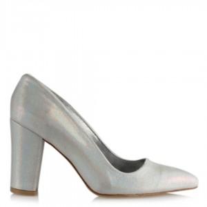 Lame Yaldızlı Stiletto Kalın Topuklu Ayakkabı