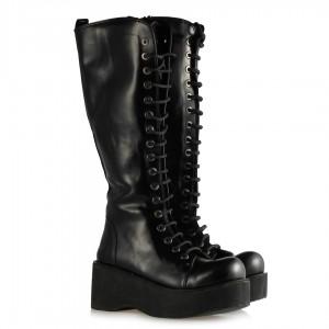 Dolgu Topuk Bağcıklı Çizme Siyah