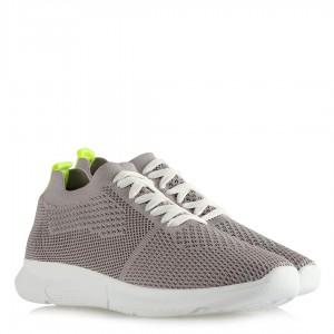 Gri Bağcıklı Streç Çorap Spor Ayakkabı