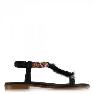 Sandalet Siyah Tasarım Pullu Taşlı