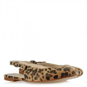 Leopar Arkası Açık Babet Ayakkabı