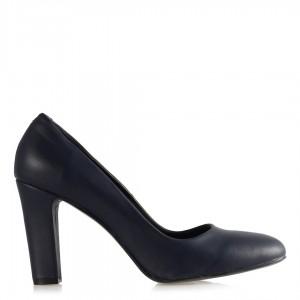 Topuklu Ayakkabı Lacivert Mat Deri Modeli