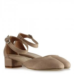 Topuklu Ayakkabı Kemerli Ten Süet
