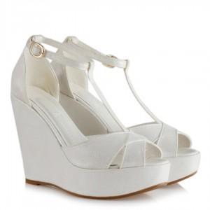 Düğün Ayakkabısı Dolgu Topuk Sedef Yaldızlı