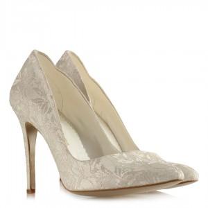 Gelin Ayakkabısı Stiletto Dantel Kumaş