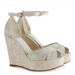 Gelin Ayakkabısı İnci Krem Dantel