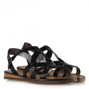 Bayan Sandalet Siyah Deri