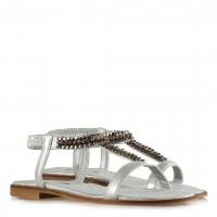 Yaldızlı Lame Taşlı Lastikli Sandalet
