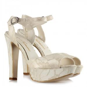Gelin Ayakkabısı Kırık Beyaz Dantel 19 Pont
