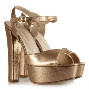 Platform Ayakkabı Bakır Yaldızlı Modeli