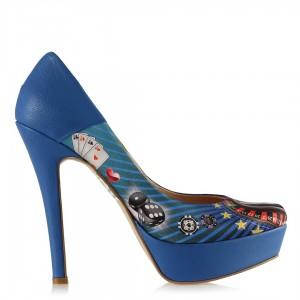 Topuklu Ayakkabı Mavi Tavşan