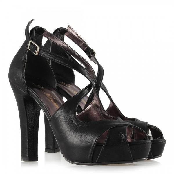Abiye Ayakkabı Siyah Yaldızlı Çapraz