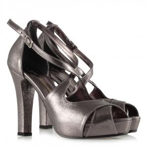 Füme Yaldızlı Çapraz Abiye Ayakkabı