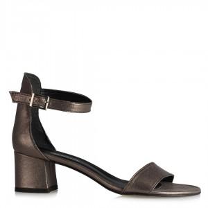 Ayakkabı Az Topuklu Sandalet Füme Yaldızlı