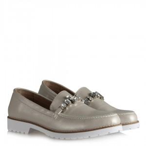 Düz Model Bej Taşlı Ayakkabı