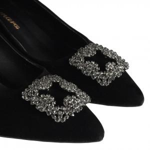 Az Topuklu Siyah Stiletto Ayakkabı Taşlı