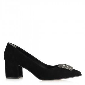 Stiletto Taşlı Siyah Süet Kalın Topuklu