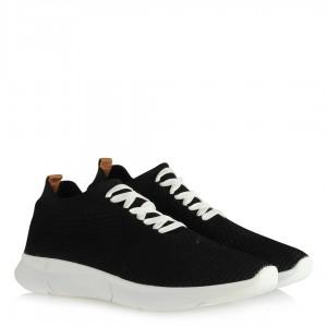Spor Ayakkabı Siyah Bağcıklı Streç