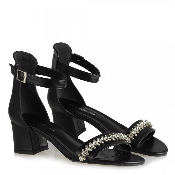 Ayakkabı Sandalet Siyah Taşlı Model
