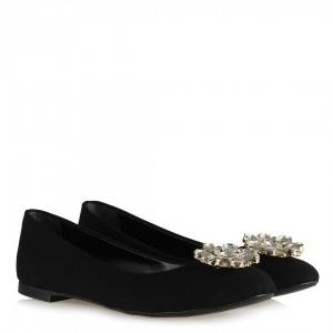 Babet Ayakkabı Siyah Süet Beyaz Taşlı Çiçek