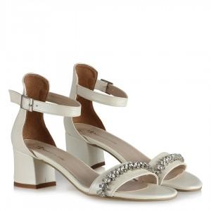 Nikah Ayakkabısı Az Topuklu Taşlı Bantlı
