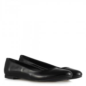 Babet Ayakkabı Siyah Kırışık Yumuşak Rugan