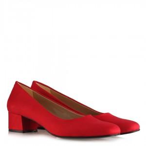 Kırmızı Topuklu Ayakkabı Kalın Topuklu