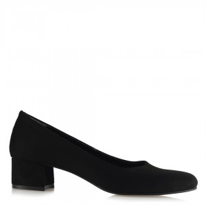 Topuklu Ayakkabı Kalın Topuklu Siyah Süet