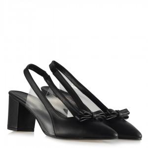 Topuklu Ayakkabı Siyah Fiyonklu Şeffaf