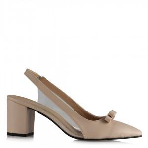 Stiletto Ten Rengi Fiyonklu Şeffaf Ayakkabı