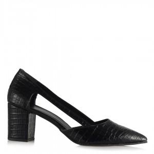 Topuklu Siyah Stiletto Crocodile Yanı Açık