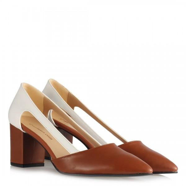 Stiletto Ayakkabı Taba Rengi Yanı Açık