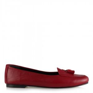 Babet Ayakkabı Koyu Kırmızı Hakiki Deri Püsküllü