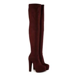 Bayan Platform Streç Çorap Çizme Bordo