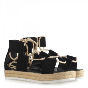 Sandalet Siyah Süet Halatlı