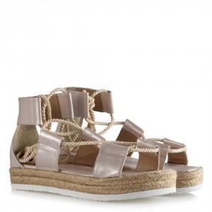 Sandalet Halatlı Pudra Yaldızlı