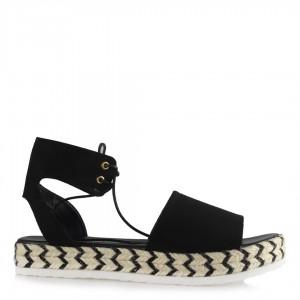 Sandalet Siyah Hasır Taban Bilekten Bağlı