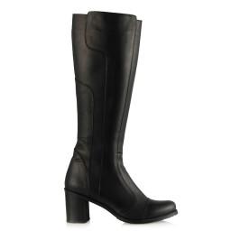 Topuklu Çizme Modeli Siyah Hakiki Deri