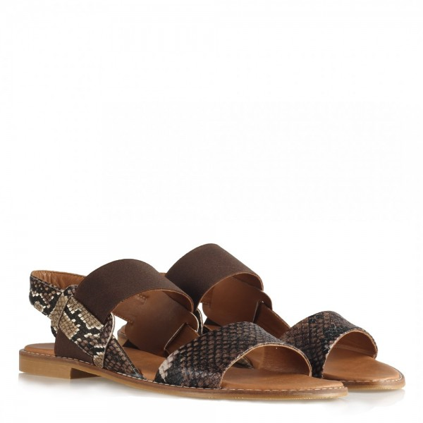 Sandalet Taba Rengi Crocodile Lastikli