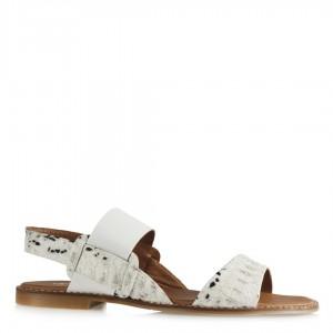Sandalet Beyaz Crocodile Lastikli