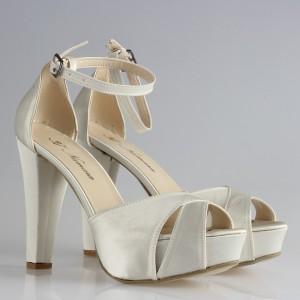 Gelin Ayakkabısı Kırık Beyaz Saten Bantlı