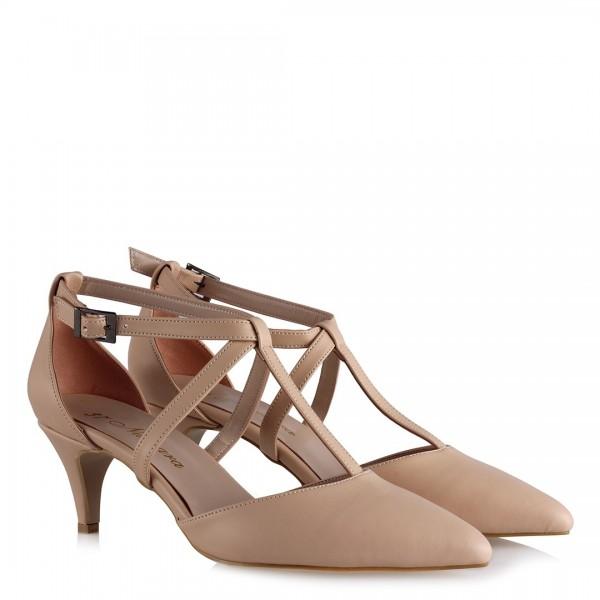 Stiletto Ayakkabı Bej Kemerli