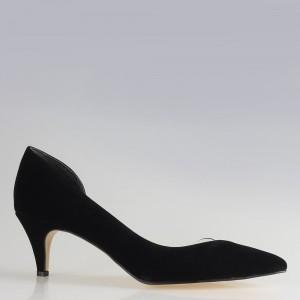 Stiletto Yanı Açık Şeffaf Siyah Süet