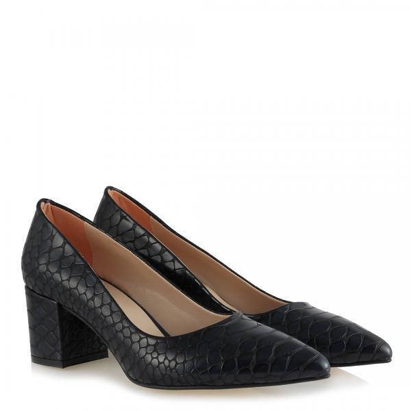 Siyah Crocodile Kalın Topuklu Stiletto