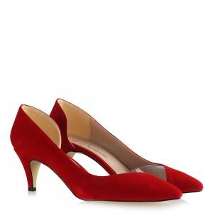 Kırmızı Süet Yanı Açık Şeffaf Stiletto