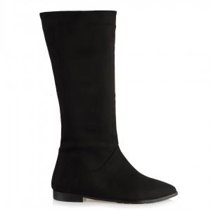 Çizme Siyah Süet Sivri Burun Düz Model