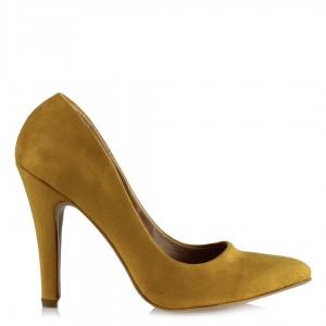 Bayan Stiletto Sarı Süet