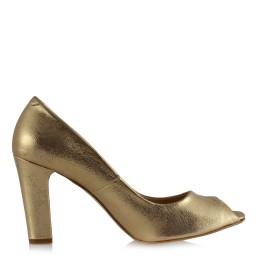 Topuklu Ayakkabı Dore Yaldızlı