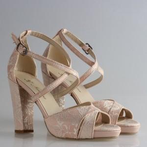 Gelin Ayakkabısı Pudra Dantel Çapraz