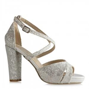 Beyaz Cam Kırığı Çapraz Nikah Ayakkabısı